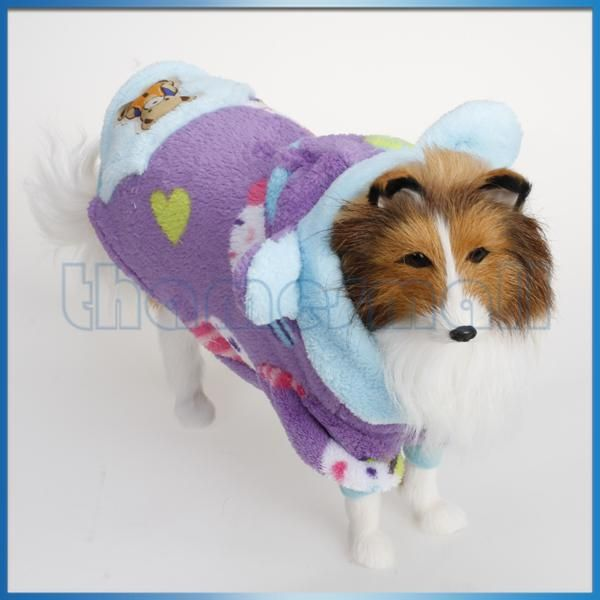 Pet Dog Hoodie Warm Lint Coat Jacket Clothing Apparel w/ Front Buttons