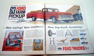 1963 Ford F 100 Custom Cab Farm Pickup Truck Original Color Ad